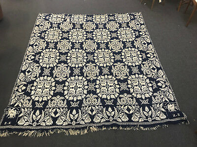 """ANTIQUE COVERLET 80"""" by 95""""  DATED 1837"""