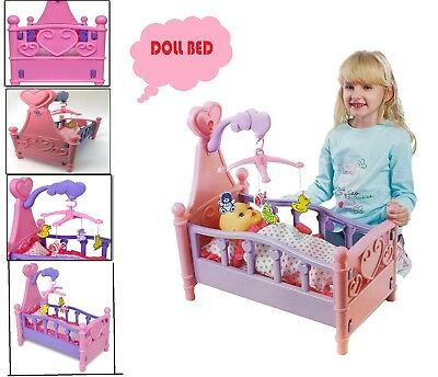 Kids Girls Cradle Crib Dolls Cot Bed Pink Children Role Play Fun Toy Gift Xmax E