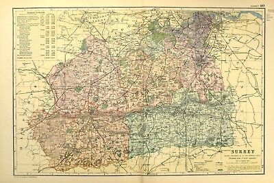 1895 Antique Map Sussex Lewes Brighton Chichester Eastbourne Hastings