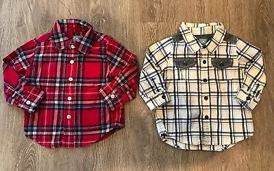 baby gap 12-18 month Lot Plaid Collared Shirt Long Sleeve Button Red White Blue