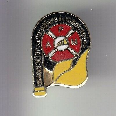 Rare Pins Pin's .. Pompier Fire Caserne Association Montreal Quebec Canada ~Dc