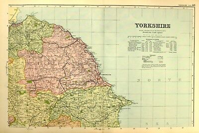 1895 Antique Map North East Yorkshire Whitby Scarborough New Malton Pickering