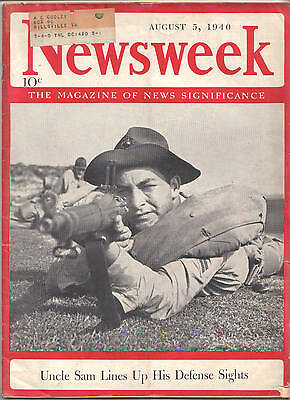 August 5 1940 Newsweek Magazine-Uncle Sam Lines Up His Defense Sights-Rare