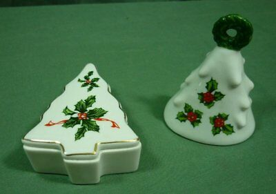 Vintage Lefton Tree Shaped Trinket Box and Bell Holly Berry Pattern 18J028