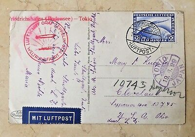 Zeppelin Flown Pc Cover 1929 Aug 19 First Round The World Flight  Germany-Tokyo