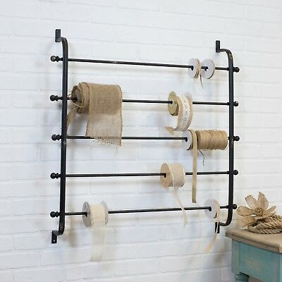 Metal Ribbon Rack 5 Tier Distressed Black Wall Mounted Wrapping Paper Holder