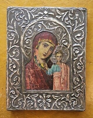 ANTIQUE RUSSIAN ICON SILVER 19th CENTURY HAND PAINTED