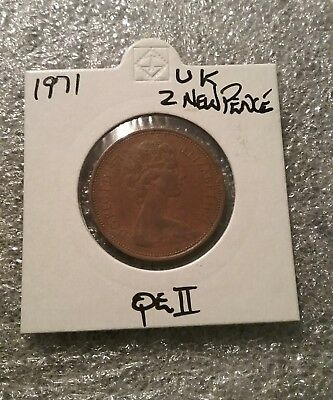 1971 British 2 New Pence Coin in 2X2 coin holder 17 # 1099