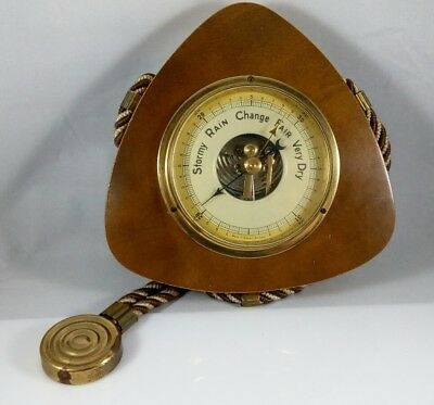 Vintage Germany Nautical Wood Weather Station Barometer Gauge Wall Hanging Rope