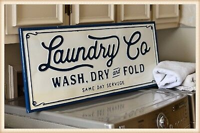 Metal Laundry Co. Sign Wall Mounted Vintage Inspired White Laundry Room Sign