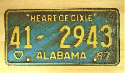 1967 Vintage Alabama Heart Of Dixie License Plate Auto Vehicle Tag  #1128