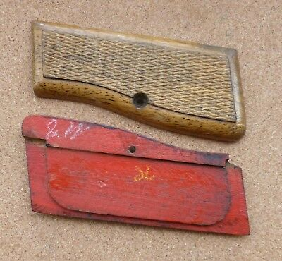 Vintage wooden grips for Browning FN Hi Power automatic pistol - red backs