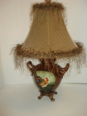 Small Ceramic Table Lamp With Rooster Design Decorative Shade