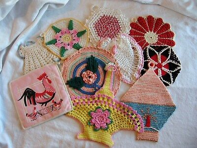 Lot Of 9 Vintage Crochet Pot Holders & 1 Material Rooster Very Nice!!