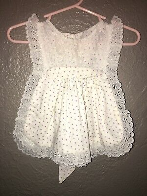 Vintage 12 Month Summer Pinafore White with Hearts Gingham Eyelet Ruffle