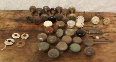 Lot Of 37 Assorted Antique Salvaged Doorknobs And Hardware Porcelain Metal Glass