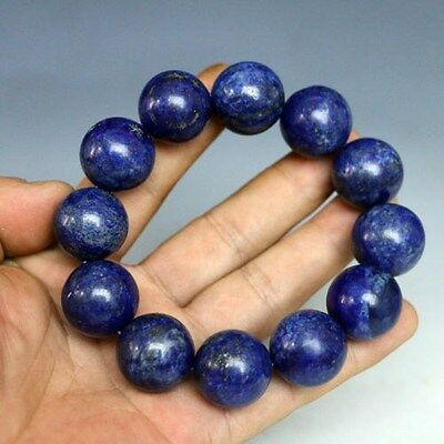 Natural Lapis lazulin  Hand-carved  Beads Bracelet a01
