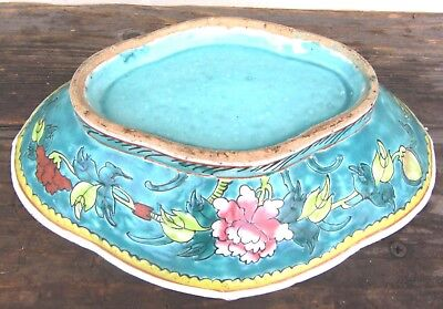 Beautiful Large Antique Famille Rose Porcelain Footed Serving Dish /bowl Chinese