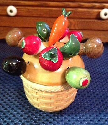 Vintage Hor Dourv Appetizer Ceramic Vegetable & Metal Picks, Set Of 13 & Basket