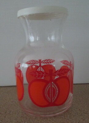 Vintage Retro Clear Glass Jar With Lid Bottle Red Apple Print Kitchen