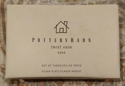 """Set Of 3 Vintage POTTERY BARN Silver Plate Vases  Small Bouquet 5"""" NIB Box"""