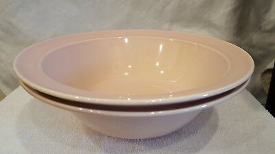 """Set of 2 Vintage T.S. & T. Lu-Ray Pastels Pink 9"""" Round Serving Bowls"""