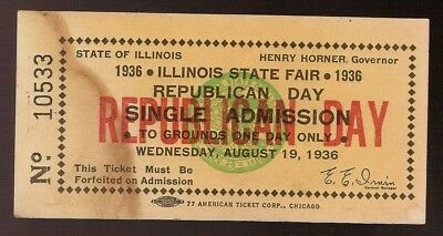 1936 Vintage Republican Day Illinois State Fair Ticket Gov. Henry Horner