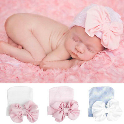 Newborn Baby Infant Girl Toddler Comfy Chiffon Bowknot Hospital Cap Beanie Hat