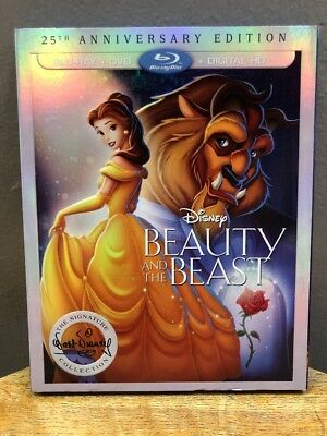 Disney Beauty and the Beast - 25th Anniversary (Blu-ray + DVD, 2016, 2-Discs)