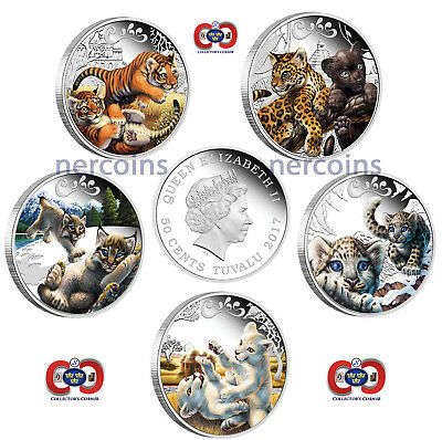 Big Cats Family 2016 Tuvalu Set of 5 Pure Silver Coins Perth Mint Perfect