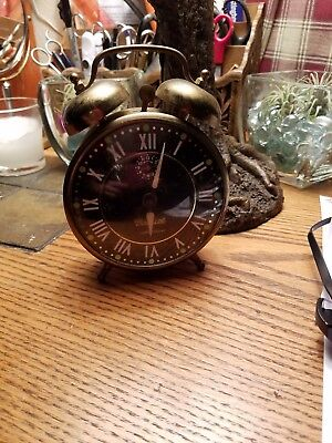 Vintage Lux Gabriel Luminescent Twin Bell Wind Up Novelty Alarm Clock Black Face