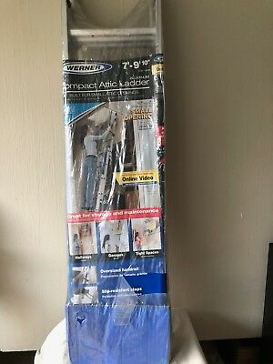 """NEW Werner Aluminum Compact Attic Ladder 7' - 9' 10"""" Height 250 LB LOAD 030011"""
