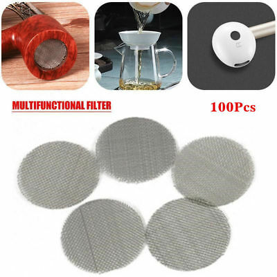 100x 20mm Stainless Steel Pipe Screens Tobacco Smoking Silver Screen Pipe Filter