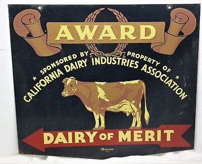 Vintage CALIFORNIA DAIRY INDUSTRIES ASSOCIATION DAIRY MERIT AWARD 2 Sided Sign