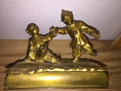 Vintage Good Luck Lucky Solid Brass Figure Of Chinese Boy And Girl Playing