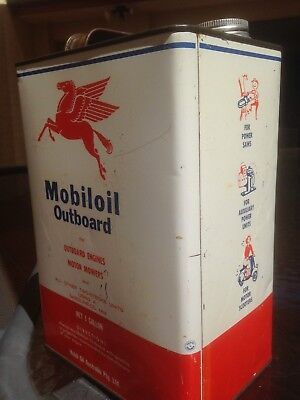 Mobiloil Australian Outboard C1960's 1 Gallon Tin/can - Great Side Graphics -