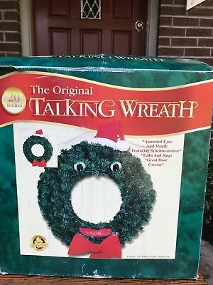 "Gemmy 20"" The Original Talking Christmas Wreath Animated Musical Holiday Decor"