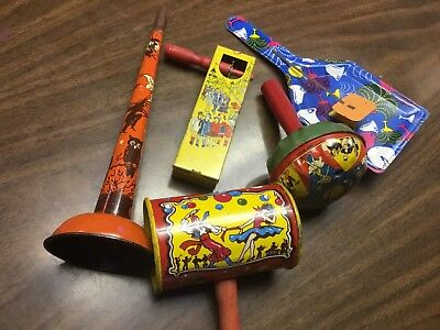 Vintage 50's Tin Litho Halloween Noisemaker / Horn Witch Cat Owl And Others