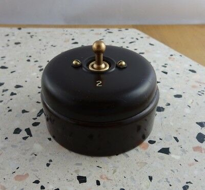 Vintage Art Deco Bakelite & Brass Switch 2 Positions Made in England