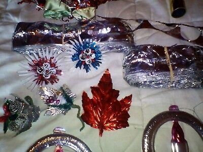 Vintage Christmas tin foil decorations, 1950's - 1960's. Group lot. .