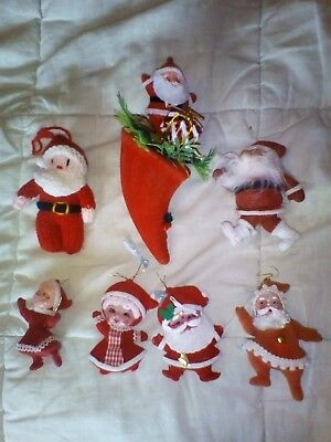 Vintage Christmas Santa & Mrs Claus decorations. Group lot.