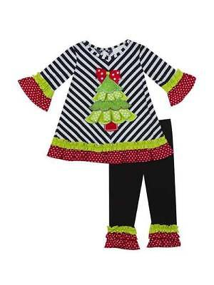 6a83d6ae2b9 RARE EDITIONS GIRLS Red Christmas Tree Applique Tutu Tunic Top Pants ...