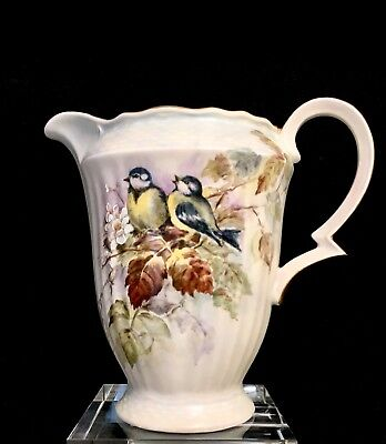 ANTIQUE POTTERY Creamer Pitcher HAND PAINTED SIGNED BIRDS GOLD GILT