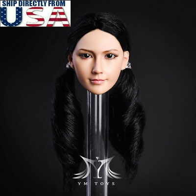 "1/6 Female Head Sculpt BLACK Hair For 12"" PHICEN Hot Toys Female Figure U.S.A."