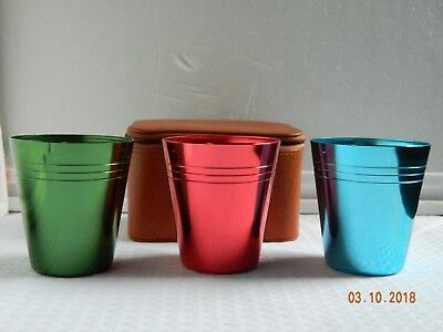 Vintage x 3 Anodised Cups In Case With Opener