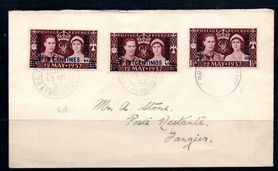 Morocco Agencies 1937 Coronation 3 currencies on cover, First Day of issue Cds
