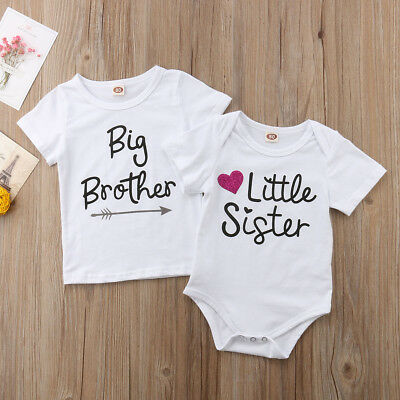 US Family Matching Little Sister Romper Top Baby Boy Big Brother T-Shirt Set