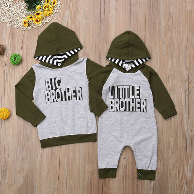 US Brother Match Baby Kids Boy Top Hoodies Infant Romper Bodysuit Clothes Outfit