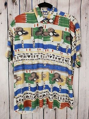 Vtg S-sleeve Teens Crazy Print Pattern Ugly Fresh Festival Shirt 13YR/14YR HB21