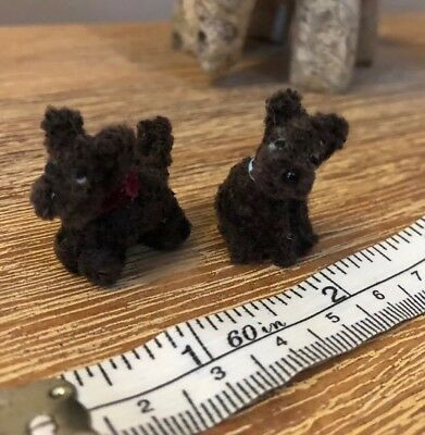 Two Tiny Handmade Dollhouse Puppies Dark Brown With Collars Very Cute 3cm